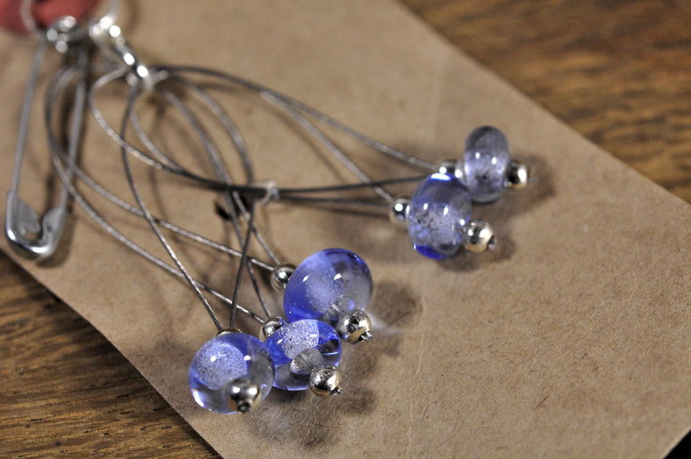 Stitch Marker Set - Blue Glass