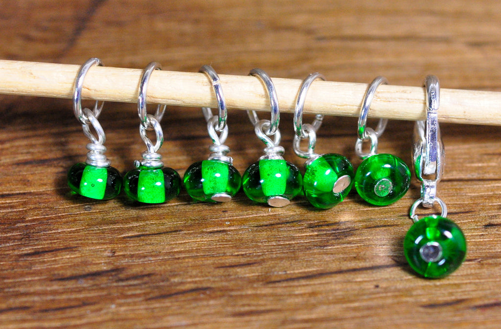 Knitters' Stitch Marker Set - Handmade Glass Beads: Bottle Green