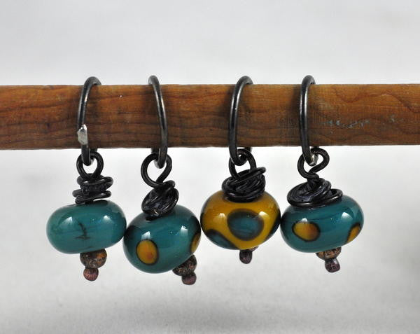 Lampwork Stitch Marker Set - Green and Gold