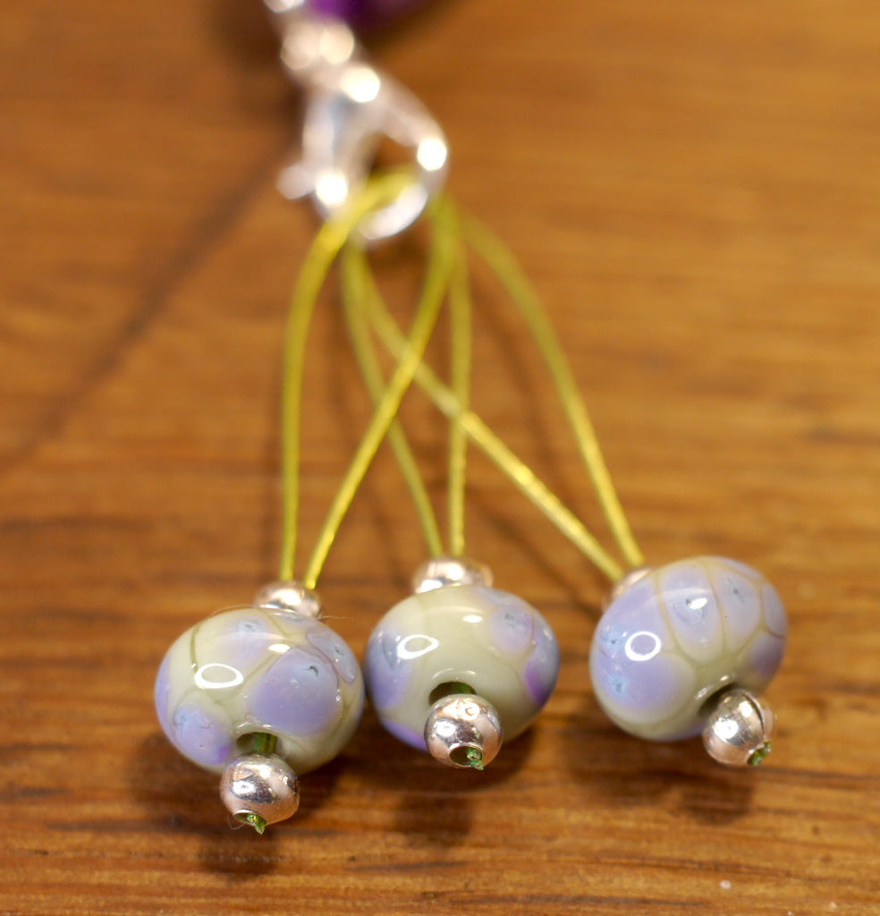 Knitters' Lampwork Stitch Marker Set - Green with Purple Speckles