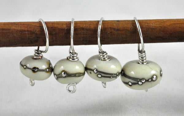 Lampwork Stitch Marker Set - Ivory and Silver