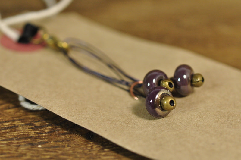 SALE! Lampwork Stitch Marker Set - Metallic Purple