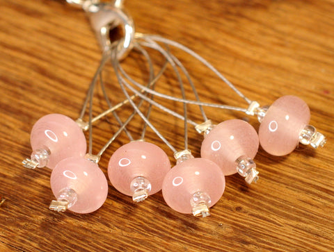 Knitters' Lampwork Stitch Marker Set - Rose Pink