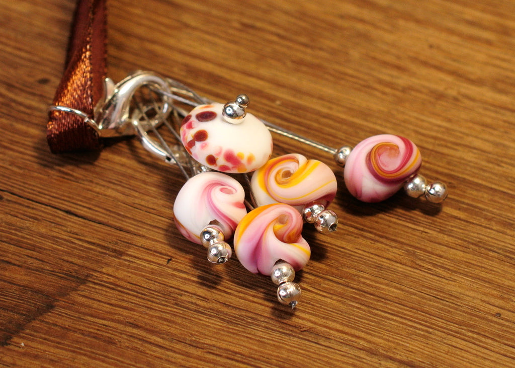 Knitters' Lampwork Stitch Marker Set - Pink Glass Shells