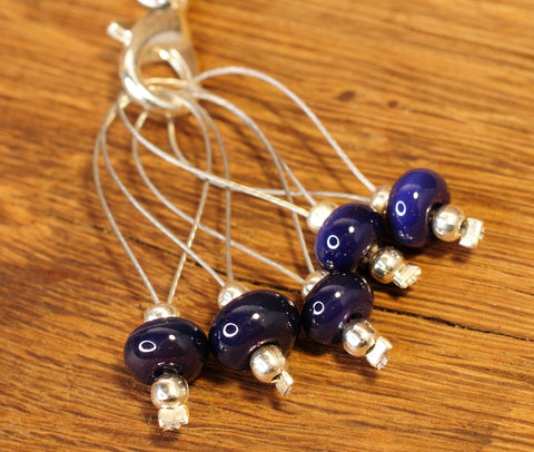 Knitters' Lampwork Stitch Marker Set - Dark Purple