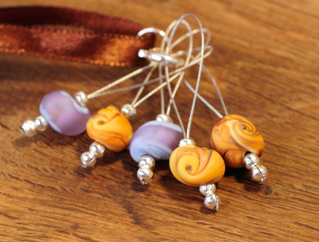 Knitters' Lampwork Stitch Marker Set - Purple and Ochre Glass Shells