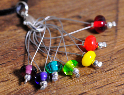 Knitters Stitch Marker Set - Lampwork Glass Beads: Rainbow Colours