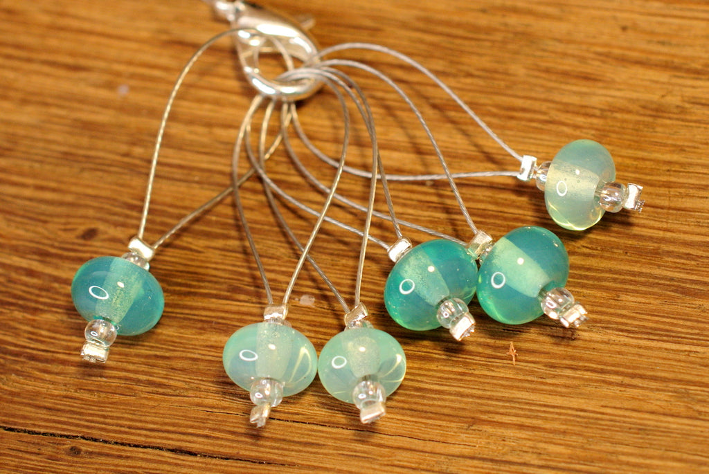 Knitters' Lampwork Stitch Marker Set - Sea Green