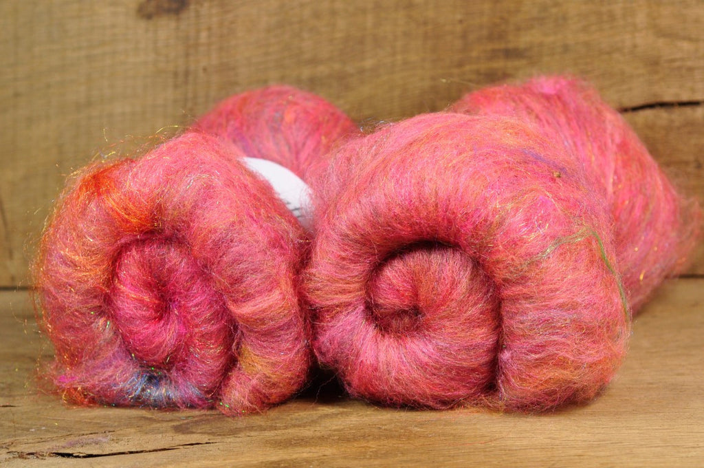 Carded Wool/Luxury Fibre Batt 50g - 'Tequila'