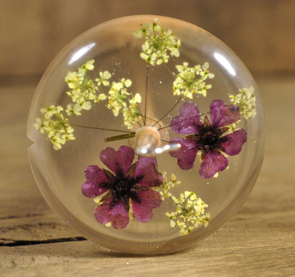 Resin Drop Spindle - Potentilla and Cow Parsley