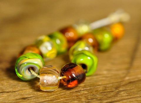 Handmade Lampwork Glass Bead Set - 'Topaz Nuggets'