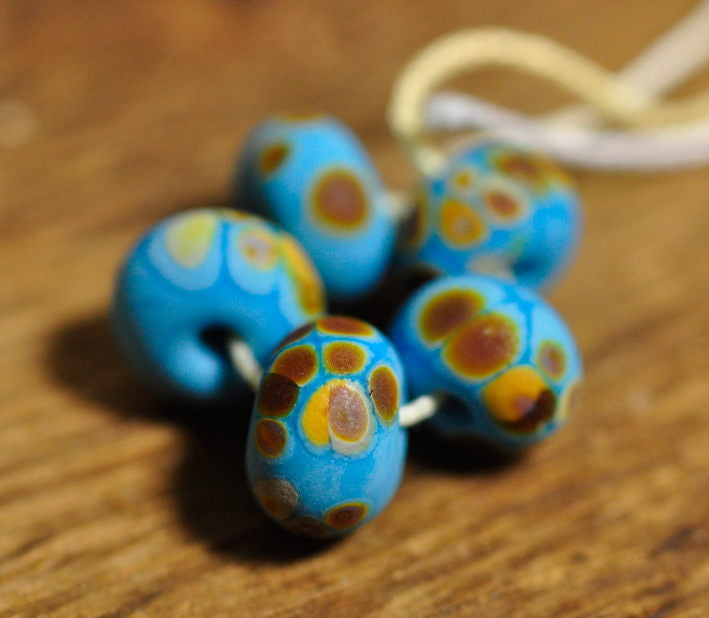 Handmade Lampwork Glass Spacer Beads - Turquoise/Brown Speckles