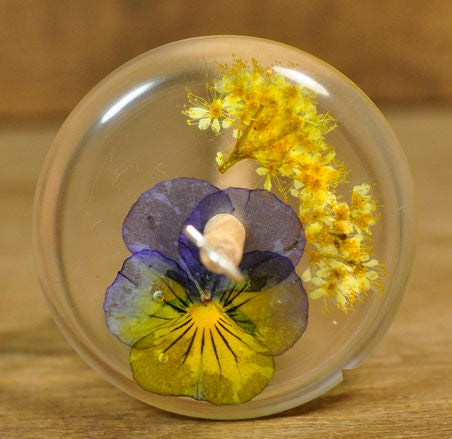 Resin Drop Spindle - Viola and Meadowsweet
