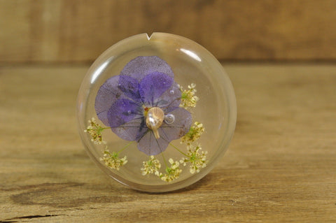 SECONDS Resin Drop Spindle - Viola and Cow Parsley