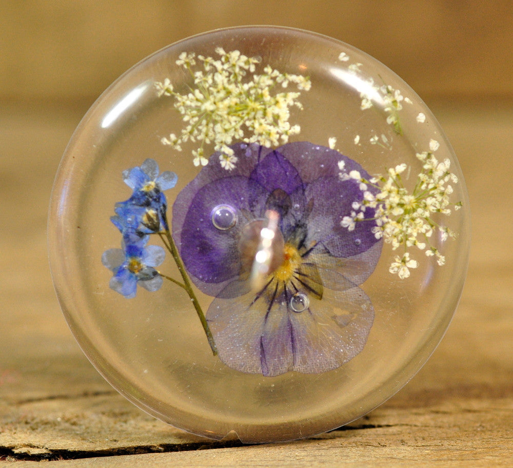 Resin Drop Spindle - Viola and Forget-me-not (2)