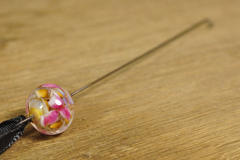 Spinner's Fetch Hook (Orifice hook), Lampwork Glass: Watercolour Flowers
