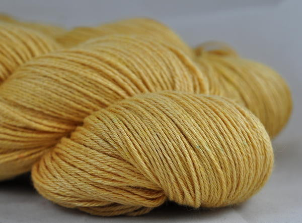 "Hand Dyed BFL/Silk 4ply Semi-Solid Yarn (Wells 4ply) - ""Butterscotch"""