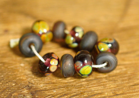 Handmade Lampwork Glass Bead Set - 'Woodland Berry Mix'