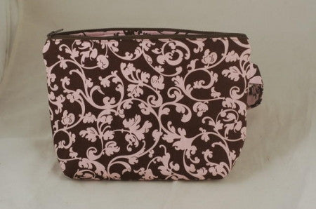 Knitter's Project Pouch - Pink/Brown Vines
