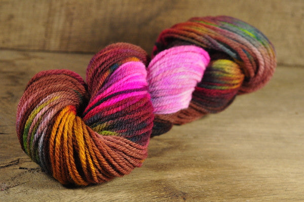 Hand Dyed Southdown Wool Aran Yarn - 'Forgotten Flowers'