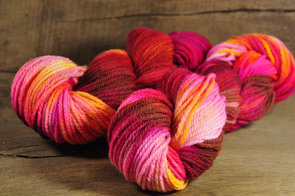 Hand Dyed Southdown Wool Aran Yarn - 'Hot Lava'