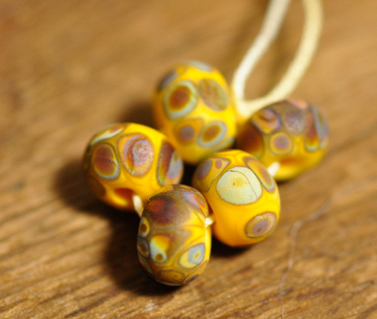 Handmade Lampwork Glass Spacer Beads - Yellow/Brown Speckles