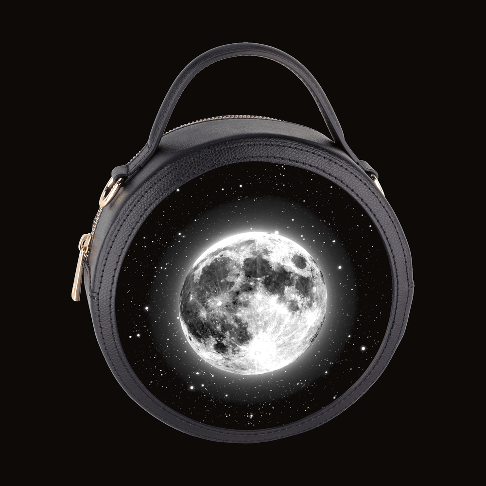Luminare Black Leather Handbag with Gold Hardware