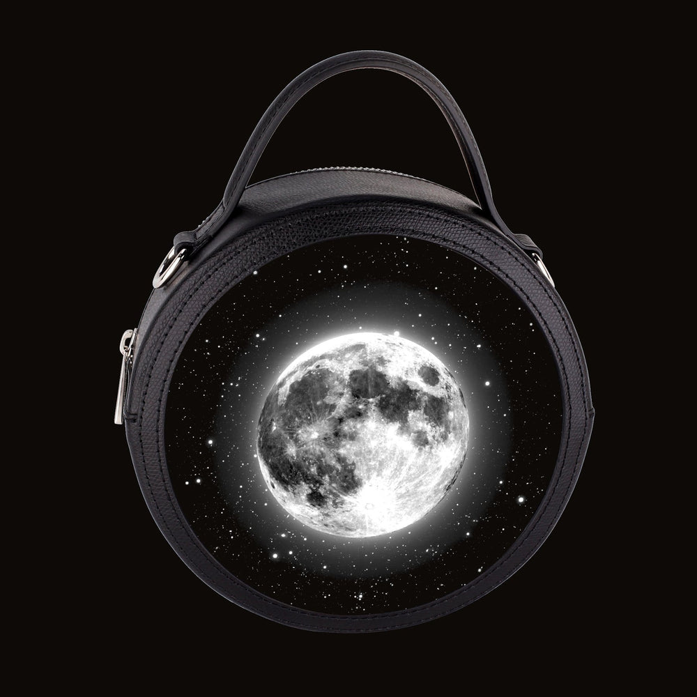 Luminare Black Leather Handbag with Silver Hardware