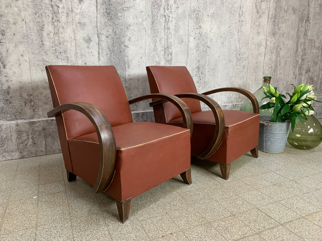 Pair of Mid Century Lounge Chairs to Reupholster