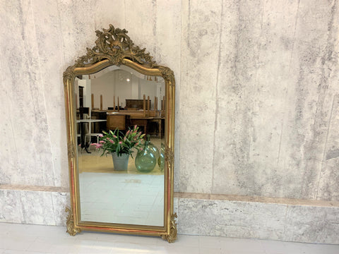 152.5cm High French Decorative 19th Century Gold Leaf Over Mantel Mirror