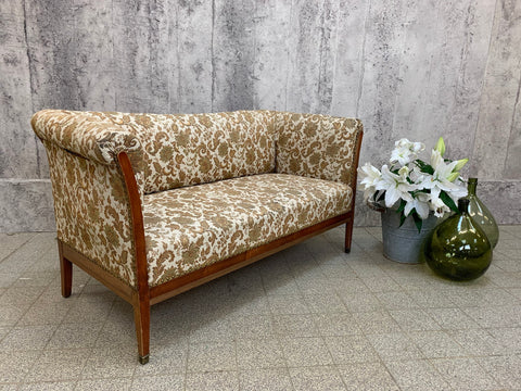 1930's Upholstered Walnut Wood Frame Sofa Canape
