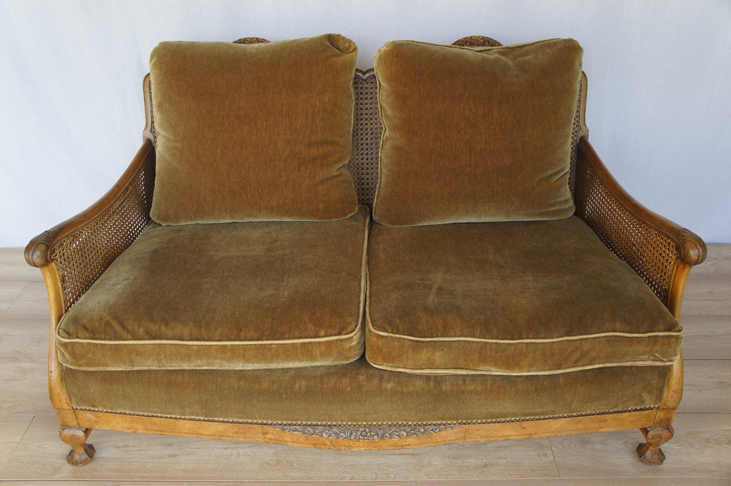 Cane And Walnut Wood Bergere Two Seater Sofa Circa 1930
