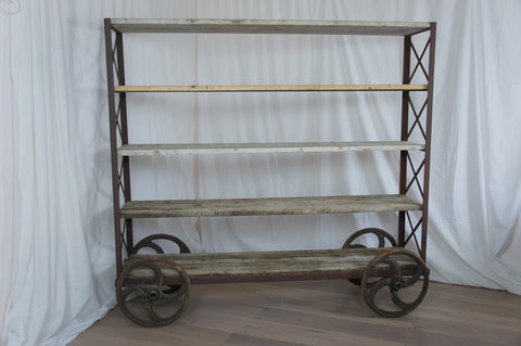 1930's 'Eiffel' Industrial Shelving Unit on Wheels