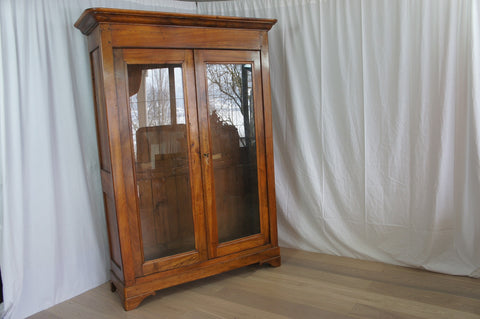 19th Century Walnut Glass Fronted Double Door Bookcase