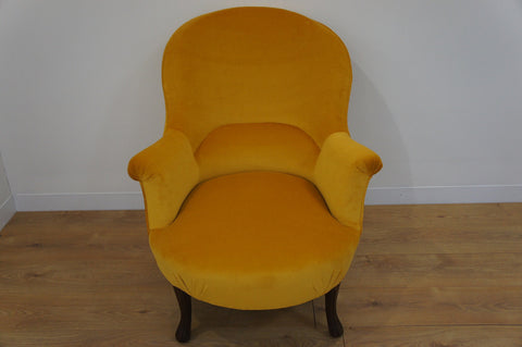 19th Century Gold Velvet French Armchair