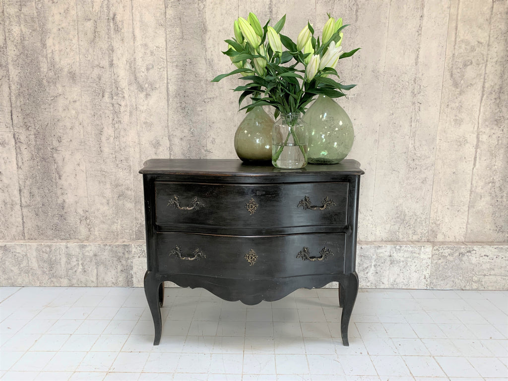 19th Century Black Chest of Two Drawers