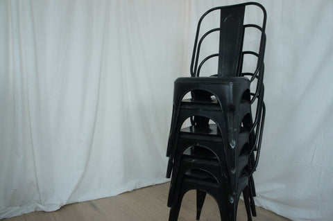 Black 1930's Style Tolix Metal Chairs