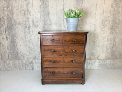 105cm Two over Three 1800's Mahogany Veneer Chest of Drawers