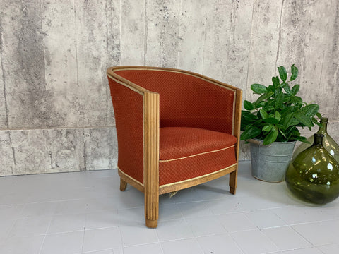 1930's Art Deco Style Carved Tub Armchair to Reupholster