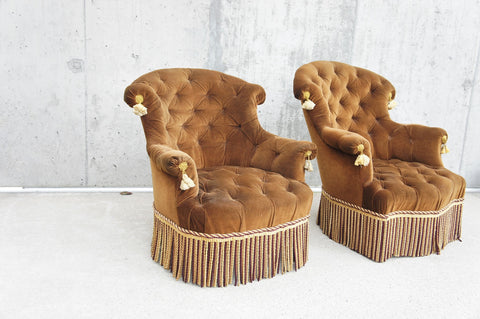 Pair of Napoleon III Caramel Coloured Velvet Armchairs to Reupholster