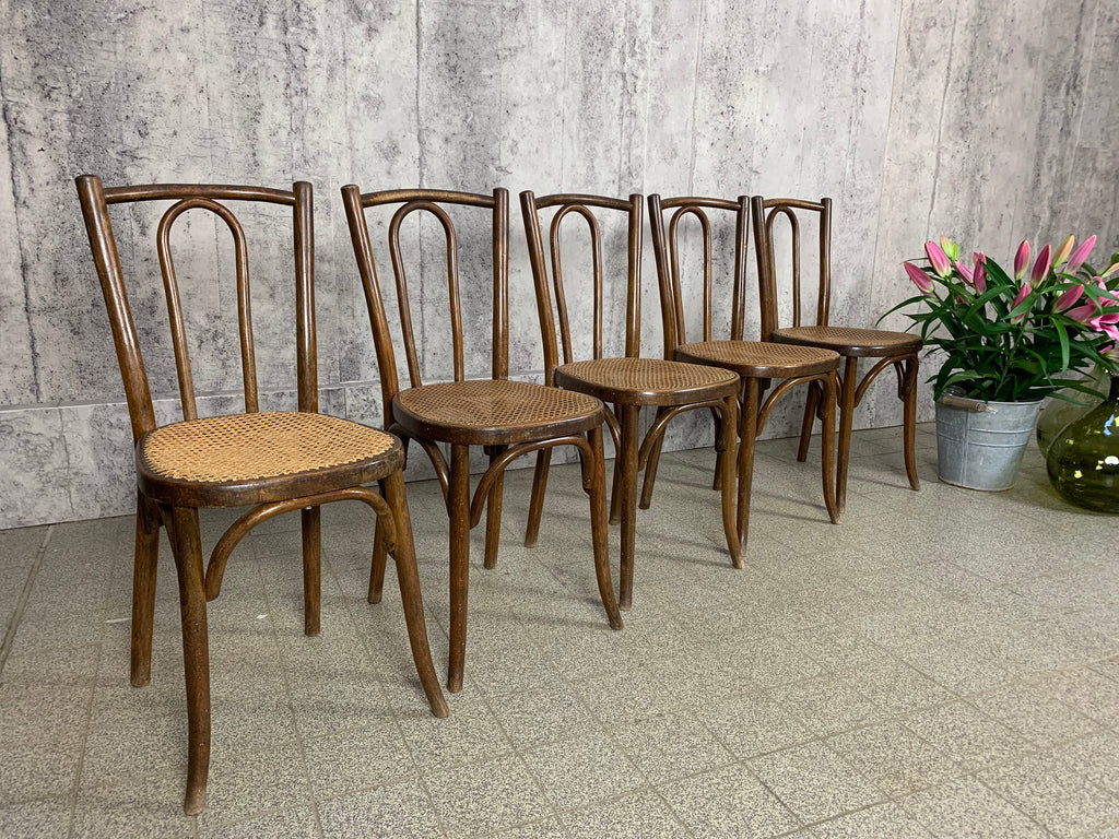 Set of 5 French Cane Bentwood Bistro Chairs