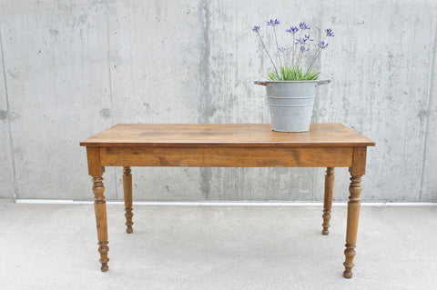 145cm Walnut Wood with Turned Legs Dining Table Desk