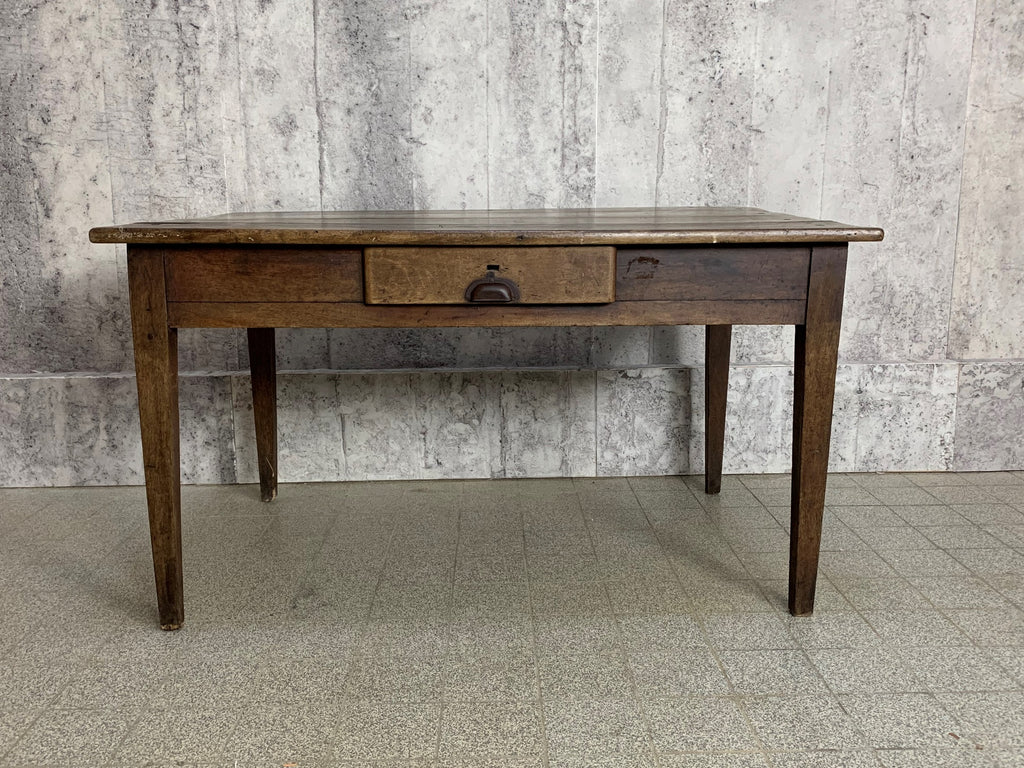 130cm Rustic Walnut Wood Farmhouse Tapered Leg Kitchen Table Desk Vintage French