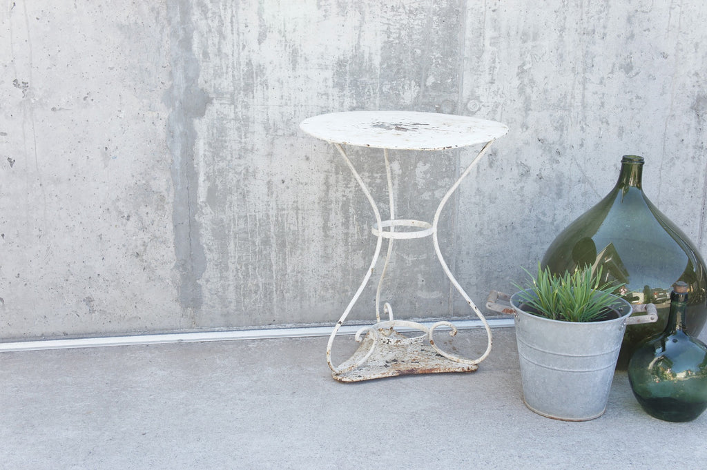 White Metal Gueridon Table