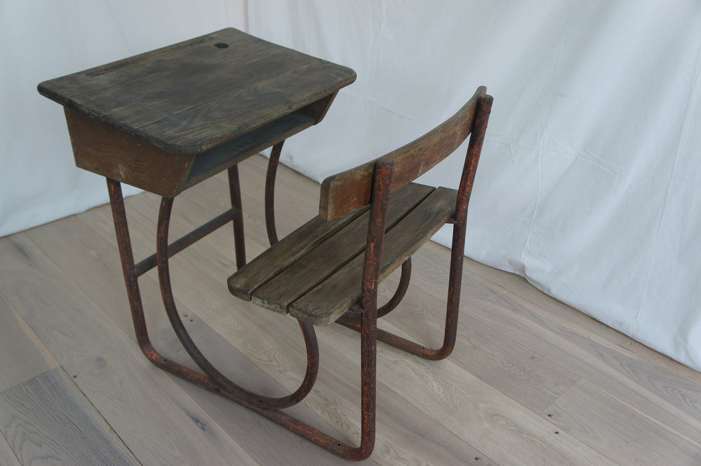 Child's Metal and Wood School Desk