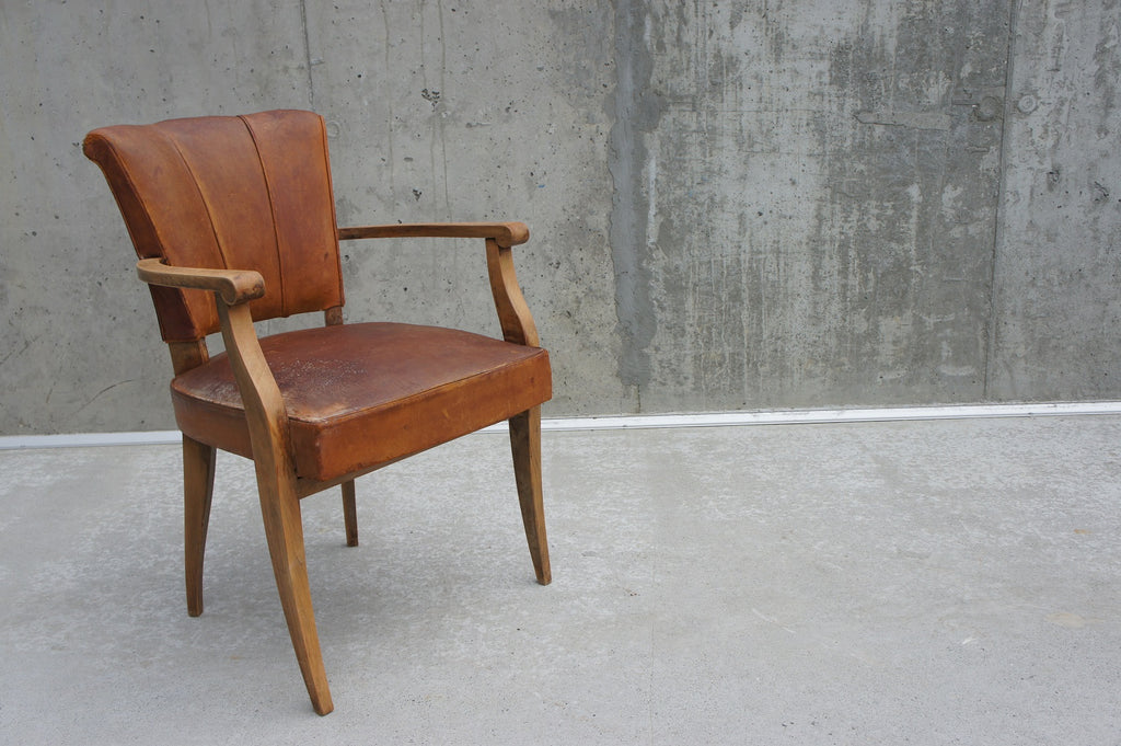 Mid Century Leather Bridge Chair