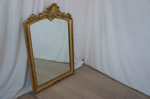 Gold Leaf Crested Mirror