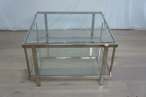 1970's Beveled Glass and Metal Coffee Table