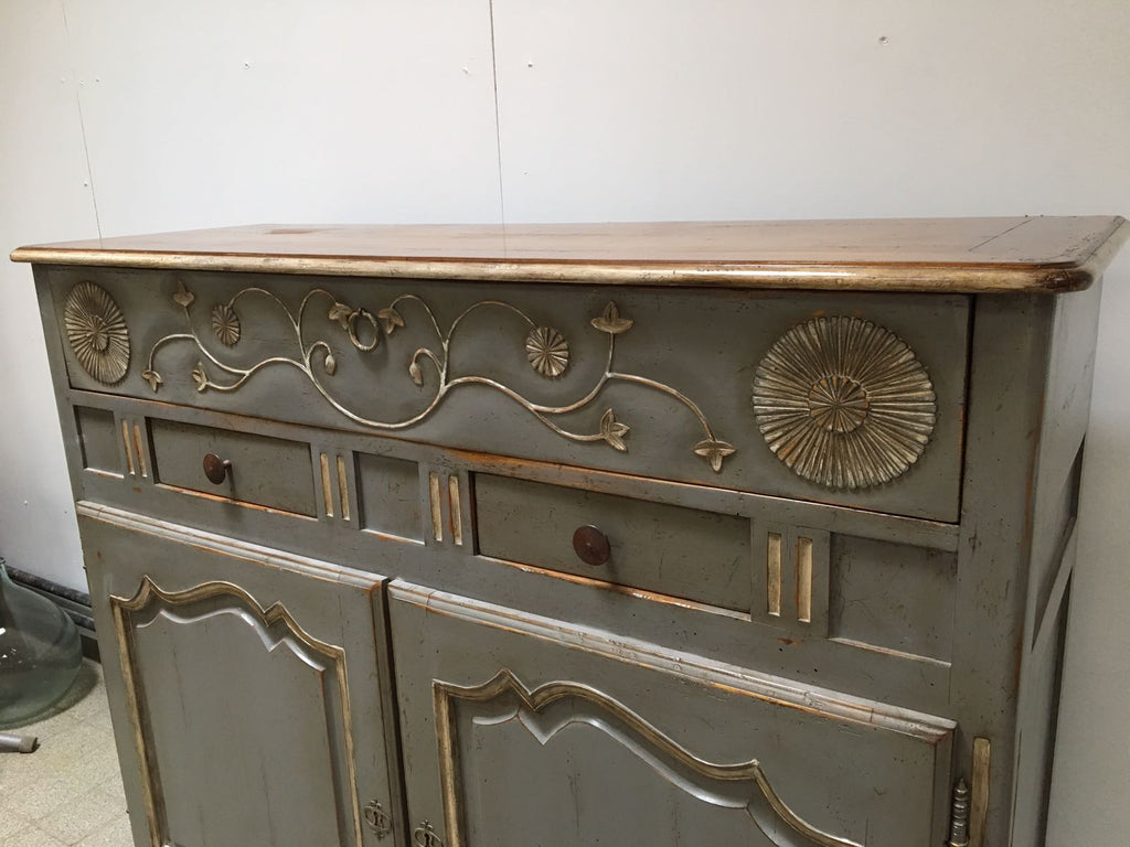 Grey and Gold Painted Sideboard Cupboard