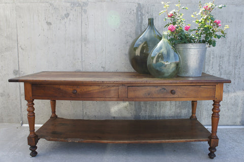 1900's Walnut Wood Console Table / Sideboard